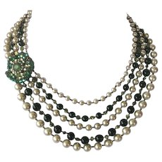 MIRIAM HASKELL 5 Strand Heavy Pearls Emerald Beads & Rhinestones Bib Necklace