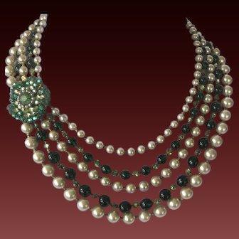 MIRIAM HASKELL 5 Strand Heavy Pearls Emerald Beads & Rhinestones Bib Necklace