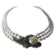 MIRIAM HASKELL 3 Strand Baroque Style Pearls Rhinestone Cluster Necklace