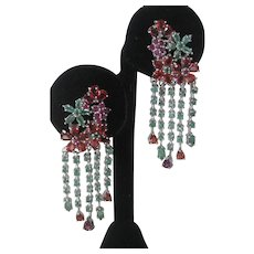 Sapphires Emeralds Garnets & Rubies 925 Sterling Silver Dangling Earrings