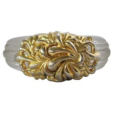 INNA CYTRINE Vintage Clear Ribbed Lucite & Gold Tone Cuff Bracelet