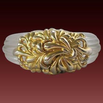 INNA CYTRINE Vintage Clear Ribbed Lucite & Gold Tone Cuff Bracelet
