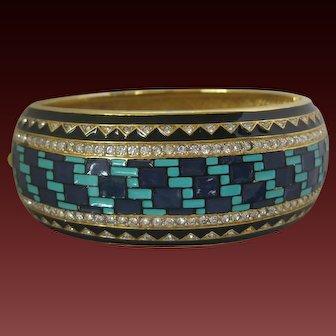 Art Deco Large Heavy Enamel & Rhinestones Vintage Cuff Bracelet