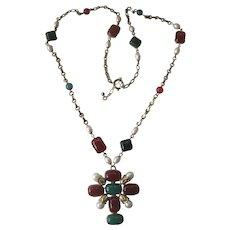Maltese Cross Long Pendant Necklace