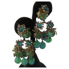 Stunning Miriam Haskell Green Glass & Rhinestones Dangling Earrings