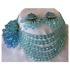 Coppola e Toppo Aqua Ocean Hombre Crystal Beads Necklace & Earrings Set