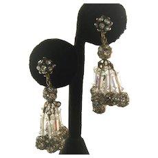 Dangling Rhinestone Balls & Glass Beads Vintage Earrings