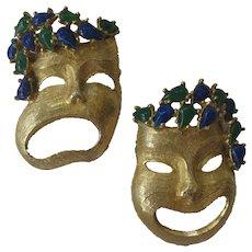 PAULINE RADER Rare Comedy Drama Vintage Pins Brooches