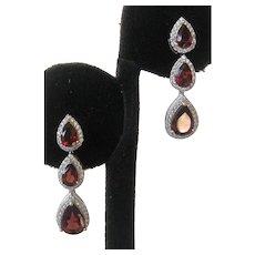 Genuine Mozambique Garnets Set In 925 Sterling Silver Earrings