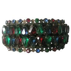 Early Unsigned Miriam Haskell Glass Stones & Filigree Cuff Bracelet