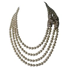 KJL Personal Archival Collection Pearls & Rhinestones Heavy Bib Necklace Kenneth Jay Lane