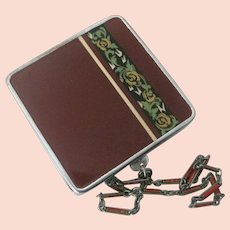 Vintage Enamel Rouge Compact With Original Chain