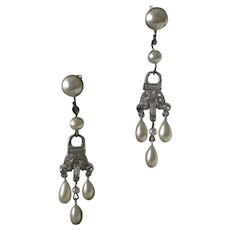 Antique French Paste & Glass Pearls Dangling Earrings