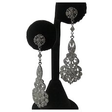 French Paste Vintage Hanging Earrings