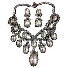 Schreiner Large Glass Pearls & Rhinestones Large Bib Necklace & Earrings Vintage Set