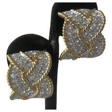 Vintage Beautiful Rhinestones & Gold Tone Braid Earrings