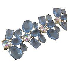 SCHIAPARELLI Huge Baby Blue Glass Large Stones Cluster Bracelet
