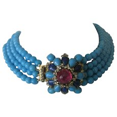Arnold Scaasi Heavy Large Turquoise Glass Beads & Stones Vintage Cluster Necklace