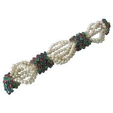 CINER Stunning Pearls & Cabochons Large Vintage Bracelet