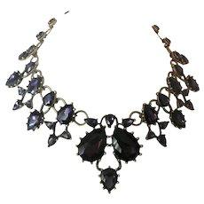OSCAR DE LA RENTA Signed Purple Glass Stones Large Necklace