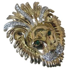 Beautiful Heavy Large Lion Head Gold & Rhinestones Pin Brooch