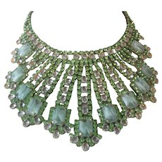 Stunning Green & Clear Glass Stones Huge Bib Necklace From Prague