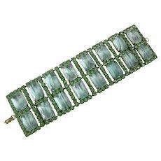 Gorgeous Greens Glass Stones Wide Cuff Bracelet