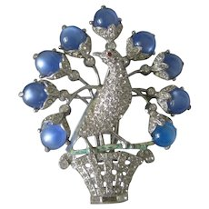 Jomaz Unsigned Peacock In A Basket Rhinestone vintage Pin Brooch