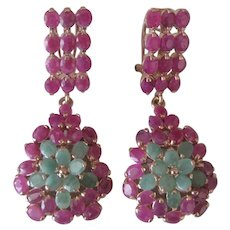 Oval Emeralds & Red Heated Rubies 925 Sterling Silver Large Earrings