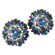 Huge Multi Color Glass Stones & Open Filigree Work Earrings