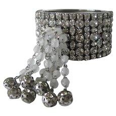 Rhinestones & Dangling Waterfall Wide Vintage Cuff Bracelet