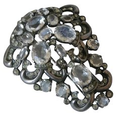 EISENBERG Sterling Large Glass & Rhinestones Fur Clip