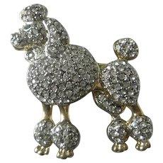Poodle Dog Rhinestone Vintage Pin Brooch