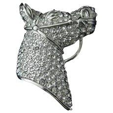 Rhinestone Horse Head Vintage Pin Brooch
