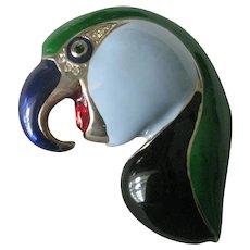 Enamel & Rhinestones Parrot Bird Vintage Pin Brooch