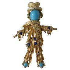 Pauline Rader Vintage Straw Man Pin Brooch
