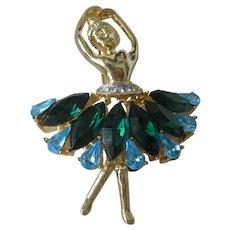 Beautiful Vintage Green & Blue Stones Ballerina Pin Brooch