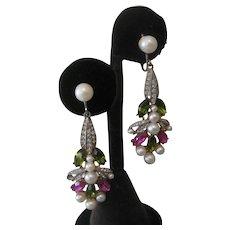 P. Mandle Vintage Glass Stones & Pearls Earrings