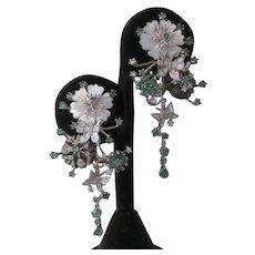 Emeralds, Enamel & Mother Of Pearl Floral 925 Sterling Silver Earrings