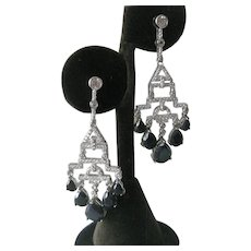 Natural Sapphires & Zillions Czs In 925 Sterling Silver Earrings