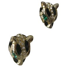 Panther Enamel & Rhinestones Earrings