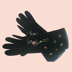 Made In France Vintage Embroidered Floral Black Suede Gloves