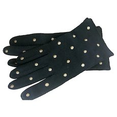 Elvette By Dawnelle Black Gloves With Cream emboidered Polka Dots