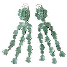Natural Emeralds Set In 925 Sterling Silver Dangling Earrings