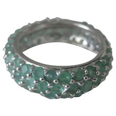 Beautiful Natural Emeralds Eternity Wedding - Promise Ring White Gold Plated 925 Sterling Silver 7 1/2