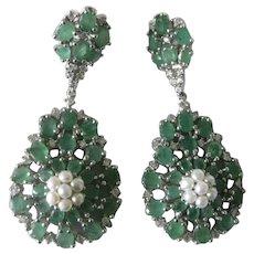 Genuine Emeralds & Pearls 925 Sterling Silver Dangling Earrings
