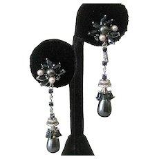 Sapphires Platinum Pearls 925 Sterling Silver Drop Earrings