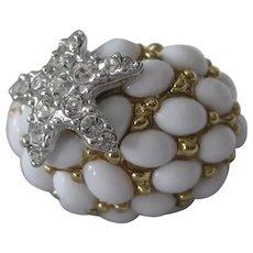 KJL Rhinestone Star Fish & White Glass Stones Ring Size 7 Kenneth Lane