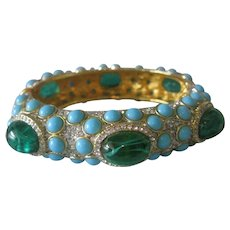 KENNETH LANE Marbled Green Glass Cabochons Turquoise & Rhinestones Cuff Bracelet