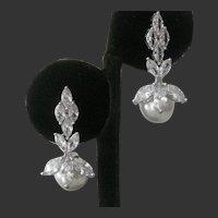 Gorgeous Glass Openback Stones & Pearls Earrings